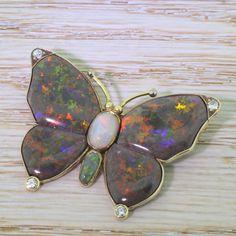 Mid Century Black, Grey & Green Opal Butterfly Brooch, circa 1950 by GatsbyJewels on Etsy https://www.etsy.com/il-en/listing/238105465/mid-century-black-grey-green-opal