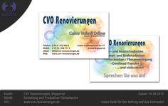 Gestaltung und Produktion von Visitenkarten für CVO Renovierungen, Wuppertal