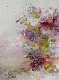 Uvas color de tierra, hojas y vino.  Inspiración de Carlos Montesinos.