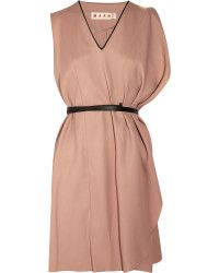 Marni Belted Sateen Dress in Gold (nude) | Lyst