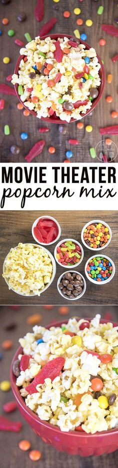 Movie theater popcorn mix - this simple popcorn mix combines the best movie theater treats, of popcorn and candy to have a delicious treat for a movie night at home! Don't forget to add your favorite seasoning! :)