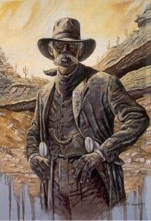 "Bass Reeves-One of the first African American Deputy U. S. Marshals west of the Mississippi, Reeves served in Indian Territory for 32 years. During this time he killed 14 outlaws and served warrants on over 3000, including his own son who was wanted for murder. After Oklahoma statehood in 1907, Reeves worked as a patrolman for the police department in Muskogee, where ""reportedly no crimes were committed on his beat."""