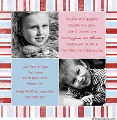 Joint Birthday Card Boy & Girl Striped Brother & Sister
