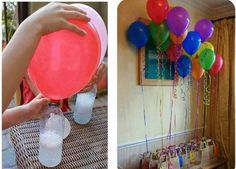 Instead use Helium gas to fill the balloons you could use a mix of vinegar with baking soda.  You need: 1 plastic bottle Balloons 1 teaspoon of baking soda 3 tablespoon of vinegar  How to make it: Add the baking soda in a bottle. Add vinegar in the balloon. Place very well the balloon at the bottle and then lift up the balloon letting the powder reach the vinegar. You will see some bubbles forming and the release of dioxide carbon gas.  Vinegar is acid and when finds the baking soda (sodium…