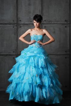 Layered Organza Ball Gown Strapless Color Wedding Dress $797.96