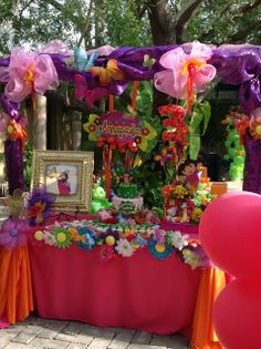 Awesome dessert table display at a Dora party!  See more party ideas at CatchMyParty.com!