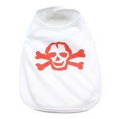 Red Scribble Skull Baby Bib