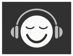 Music smiley DJ musician modern cool gray Postcards. Cool postcard featuring a happy smiley face logo with headphones in white and pale gray on a dark gray background. Fun, modern design for DJ's, musicians, music editors or anyone who loves or works with audio or music.