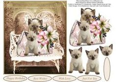 Waiting Cute Kittens Topper with Decoupage