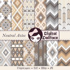 Brown Ikat Digital Paper Pack, Tribal Aztec Printable Pattern Background on Etsy, $2.95