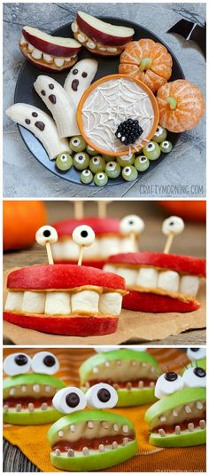 Healthy halloween snack ideas for the kids Pumpkin cuties cyclops grapes monster apples banana ghosts spiderweb fruit dip blackberry spider Perfect halloween party appeti. Halloween Desserts, Hallowen Food, Recetas Halloween, Halloween Party Appetizers, Halloween Treats For Kids, Healthy Halloween Snacks, Snacks Für Party, Easy Halloween, Halloween Meals