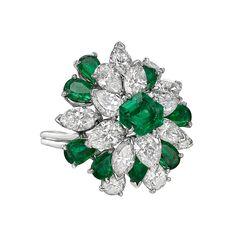 Estate Oscar Heyman Emerald & Diamond Cluster Ring