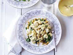 Roasted Cauliflower, Chickpeas, and Sautéed Chard with Tahini Dressing, Wholeliving.com #vegetarian