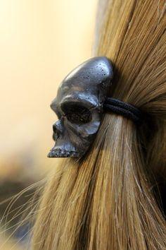 Black Onyx Human Skull Pony tail Holder Hair Tie 2023 by Skull Jewelry, Hair Jewelry, Hair Scissors, Black Onyx, Solid Black, Human Skull, Wood Necklace, Skull Design, Hair Sticks