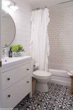 One Room Challenge Modern Farmhouse Bathroom Makeover. made quite a splash with her modern farmhouse bathroom makeover. Soak in all the gorgeous details [. Bathroom Renos, Basement Bathroom, Bathroom Renovations, Master Bathroom, Bathroom Ideas, Bathroom Updates, Bathroom Makeovers, Bathroom Small, Bathroom Designs