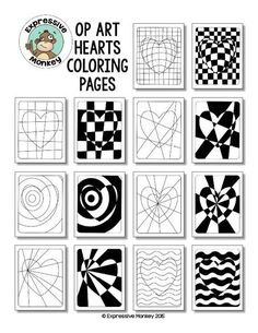 """Not only will your students will """"LOVE"""" these Op Art Hearts Coloring Pages, but you can also sneak in some lessons about colors as you have them choose a color scheme to color them in. Kunstunterricht Op Art Hearts Coloring Pages School Art Projects, Art School, Middle School Art, High School, Op Art Lessons, Drawing Lessons, Arte Elemental, Illusion Kunst, Opt Art"""