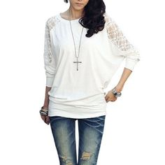 Allegra K Ladies Floral Lace Patchwork Back Stretchy Top Shirt White XS Allegra K. $11.49