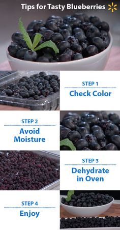 """Dry"" berries are good berries! To make sure you pick the best blueberries, be sure they are dry and dark purple. Red berries aren't ripe – once a blueberry is picked, Try dehydrating the berries in an oven at a low temperature. This will intensify the flavor. Dehydrated blueberries are chewy, a little bit sweeter and will last longer.  Watch Food Fighters on NBC for more great tips. Thursdays at 8/7pm CT."