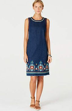 40f1a13e60d Women's Embroidered Denim Sundress - Universal Thread™ Light Indigo S in  2019 | Products | Embroidered denim dress, Denim, Dresses