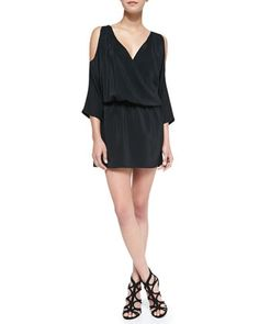 Cold-Shoulder Draped Silk Dress, Black by Amanda Uprichard Loves Cusp at Neiman Marcus.