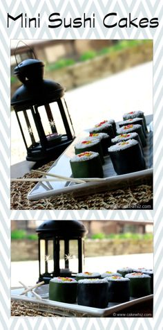MINI SUSHI CAKES. These are actually little cakes that look like sushi. So much fun to make for kids and even great for April Fool's Day just for a few laughs ;) From cakewhiz.com