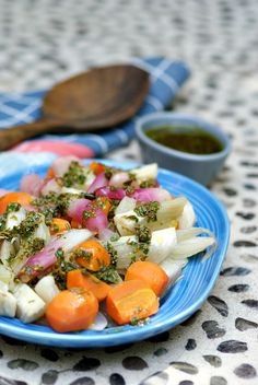 Steamed Fennel, Carrots and Radishes with Passover Herb Salsa Verde