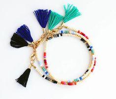 Multicolor Beaded Friendship Bracelet - Cream Blue Teal Mint Cobalt Orange Red Burgundy Pink Black Grey and Gold