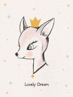 Affiche / Poster / Illustration déco pour chambre d'enfant * Lovely dream. : Illustration / Bambi / Biche / Vintage / Kids / Children's room / Poster /