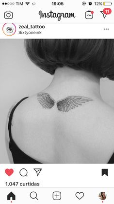 Tattoos on neck – Tattoos And Angle Wing Tattoos, Wing Neck Tattoo, Wing Tattoos On Back, Nape Tattoo, Tattoo Son, Back Of Neck Tattoo, Piercing Tattoo, Red Ink Tattoos, Girly Tattoos