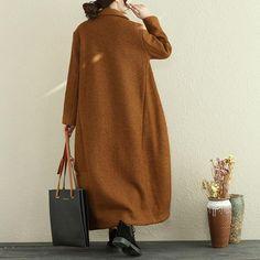 Winter Women Polo Collar Long Sleeve Woolen Long Coat