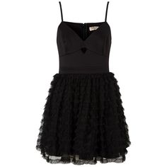 Ariana Grande For Lipsy Ruffle Prom Dress ($84) ❤ liked on Polyvore featuring dresses, robe, mini prom dresses, prom dresses, strappy cami, little black dress and flutter-sleeve dress