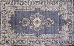 Dywanik Kashan vintage - z nadrukiem - czarny