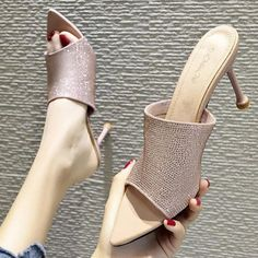 $33.35 | High Heel Slippers High Heels Women Shoes Woman 2020 New Women Summer Flock Rhinestones Fashion Pointed Stiletto Sandals D67 Outfit Accessories FromTouchy Style | Free International Shipping. High Heel Pumps, Pumps Heels, Mens Shoes Online, Beautiful Sandals, Flip Flop Shoes, Womens High Heels, Summer Shoes, Girls Shoes, Casual Shoes