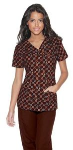 """Baby Phat Women's Mock Wrap Print Scrub Top in """"Life Saver"""" 26904C-LFSV  This mock wrap top features feline logo snaps, shoulder darts at the front and back for shaping, patch pockets and side vents. Center back length is 26 1/2"""".  $24.50  #scrubs #scrubcouture #nurses"""