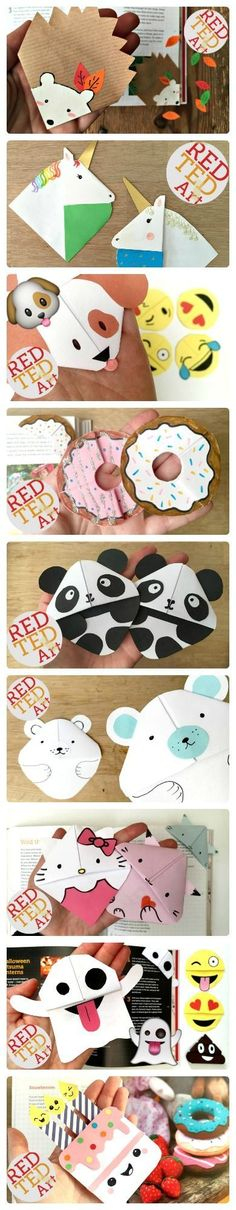 Oh my, such ADORABLE Cute Easy Corner Bookmark Designs. If you are looking for a book related craft for the kids or simply love to read and make bookmarks, then this amazing selection of bookmark DIYs is just the thing for you. Just ADORABLE. And more DIY Cute Crafts, Crafts To Do, Easy Crafts, Crafts For Kids, Origami Bookmark Corner, Bookmark Craft, Cute Bookmarks, Corner Bookmarks, Paper Bookmarks