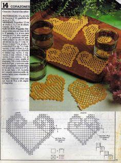 Филейное вязание: Сердечки филейного вязания