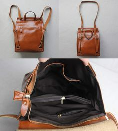 Women's Handmade Leather Backpack / Day Pack / Leather Satchel #B02 - Thumbnail 2