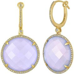 Preowned Chalcedony Diamond Gold Drop Earrings ($1,500) ❤ liked on Polyvore featuring jewelry, earrings, dangle earrings, multiple, long earrings, 14k diamond earrings, gold earrings and long gold earrings