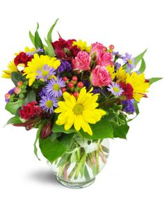 A rainbow of blooms are perfectly perfect for any special occasion! As a birthday celebration, or a hearty congratulations, it's a great way to show how much you care.  Cheery yellow daisies, purple asters, pink spray roses, and more are delightfully arranged in a fun bubble bowl.