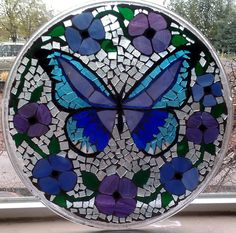 Beautiful Mosaic Butterfly surrounded with by MosaicMaddness, $75.00