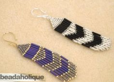 How to Make Brick Stitch and Fringe Beaded Earrings #Seed #Bead #Tutorials