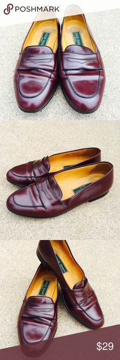 Cole Haan Men's Casual Shoes Burgundy Leather Cole Haan mens casual burgundy leather penny loafer slip on Size 9.5M Condition: Pre-owned, wrinkling wear inside and outside of shoes. Cole Haan Shoes Loafers & Slip-Ons