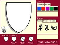 PHFHG--coat of arms, design, print images to color and put on your coat of arms.  Heraldry 4 Kids: [B] Design your own shield