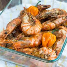 Jamaican Hot Pepper Shrimp Recipe Starters, Main Course with shrimp, scotch bonnet chile, onion powder, garlic, Himalayan salt, black pepper, garlic cloves, allspice, thyme, fresh lime, shrimp, warm water