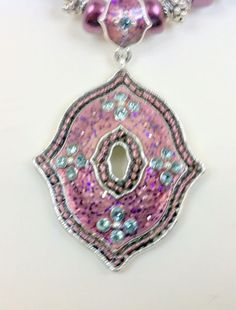 Avon Vintage Beaded  & Enamelled Necklace Pendant Crystals Shades of Pink  #Avon #Pendant