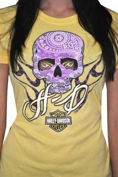 Harley-Davidson Womens Purple Skull Yellow Short Sleeve T-Shirt Harley Davidson Gear, Harley Gear, Harley Bikes, Davidson Bike, Lady Biker, Biker Girl, Motorcycle Outfit, Motorcycle Clothes, Harley T Shirts