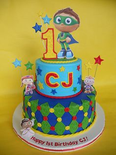 Primary Colored Stars and Harlequin Super Why Cake (CJ)
