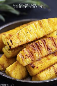 Pineapple spears that get coated in a buttery brown sugar cinnamon glaze and caramelize on the grill!  This will be one ...