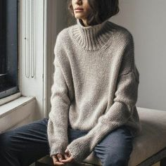 Myrrhia Resneck: Eco Knitwear - Eluxe Magazine, This oversized sweater by one of our favourite labels, EILEEN FISHER Inc, is everything. Ethical Fashion, Korean Fashion, Chunky Knit Jumper, Cashmere Jumper, Cozy Knit, Mohair Sweater, Look Fashion, Womens Fashion, Fashion Check