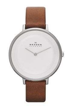Skagen 'Ditte' Textured Dial Leather Strap Watch, 37mm available at #Nordstrom  // 125